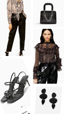 blouse and leather trousers